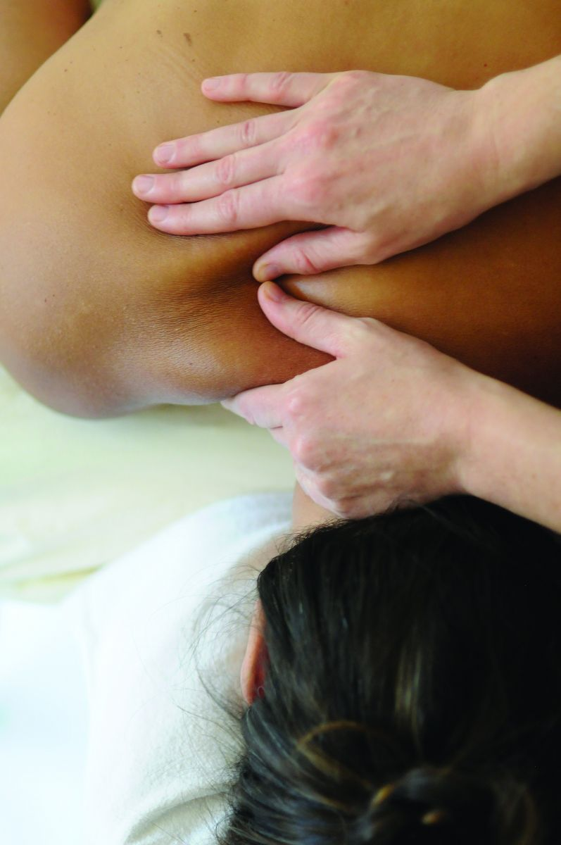 Christa Sperry provides deep tissue massage.